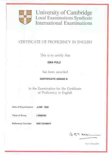 Certificate of Proficiency in English