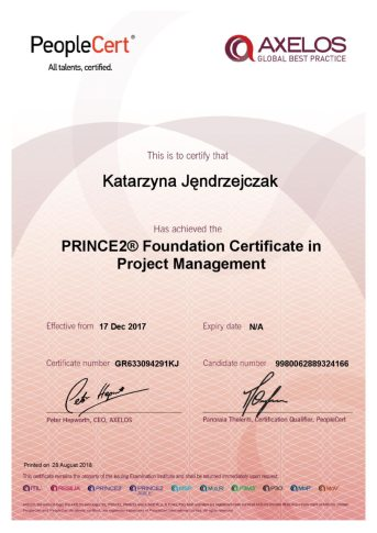 Certyfikat Prince 2 Foundation Certificate in Project Management
